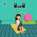Young woman doing exercises to build abdominal muscles. The girl in a sports suit is engaged in activities in the gym. Flat cartoon vector illustration Stock Images