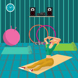 Young woman doing exercises to build abdominal muscles. The girl in a sports suit is engaged in activities in the gym. Flat cartoon vector illustration Royalty Free Stock Photo