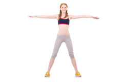 Young woman doing exercises Stock Photos