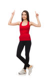 The young woman doing exercises on white Royalty Free Stock Photography
