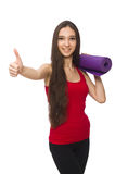 The young woman doing exercises on white Stock Photos