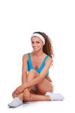 Young woman doing exercises .  on white background Stock Photo