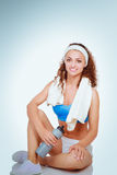 Young woman doing exercises .  on white background Stock Photography
