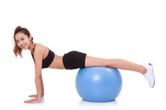 Free Young Woman Doing Exercises With Fitness Ball. Stock Photo - 64142040
