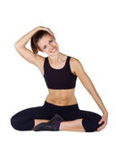 Young woman doing fitness exercises Stock Photos