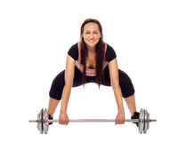Young woman doing a fitness workout with weights Stock Photos