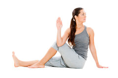 Young woman doing flexibility yoga exercise Stock Photography
