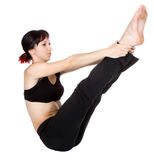 Young woman doing floor exercise Royalty Free Stock Photography