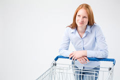 Young Woman Doing Grocery Shopping Royalty Free Stock Photos