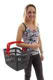 Young woman is doing grocerys Stock Images