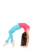 Young woman doing gymnastic exercises stock photography
