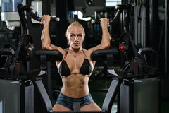 Young Woman Doing Heavy Weight Exercise For Biceps Stock Images