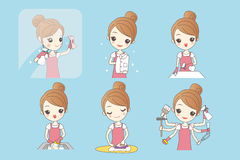 Young woman is doing housework Stock Photo
