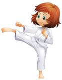 A young woman doing karate. Illustration of a young woman doing karate on a white background Stock Photos