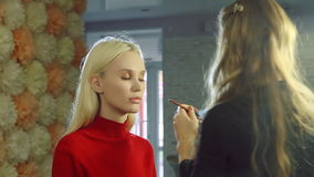 Young woman doing makeup on a model in a beauty salon. stock video