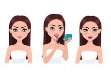 Young woman doing makeup. Vector illustrations. royalty free illustration