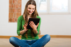 Young woman doing online dating Royalty Free Stock Photo