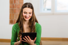 Young woman doing online dating Royalty Free Stock Photos