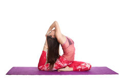 Young woman doing practicing training yoga exercise isolated on white background health care Royalty Free Stock Images