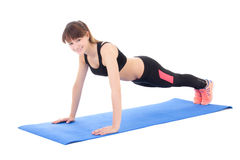 Young woman doing push up exercise isolated on white Royalty Free Stock Photography