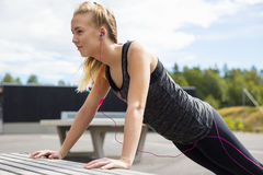 Young Woman Doing Pushups On Bench In Park stock photos