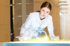 Young woman doing research Stock Photo