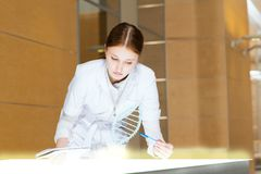 Young woman doing research Stock Images