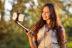 Young woman doing selfie Stock Photography