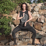 Young woman doing shamanic dance in nature Stock Photography