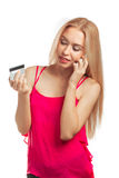 Young woman doing shopping online Stock Photo