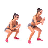 Young woman doing sport exercise. Frog Squat exersice. Young woman doing sport exercise Stock Images