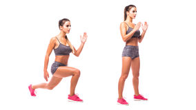 Young woman doing sport exercise. Jump Lunge To Feet Jack. Young woman doing sport exercise Royalty Free Stock Photography