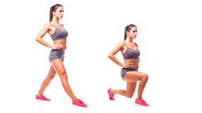 Young woman doing sport exercise. Lunge copy. Young woman doing sport exercise Royalty Free Stock Photography