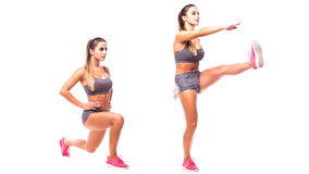Young woman doing sport exercise. Reverse Lunge and Kick. Young woman doing sport exercise Stock Photography