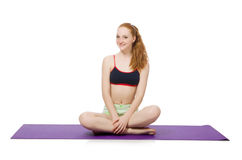 Young woman doing sport exercises isolated Stock Image