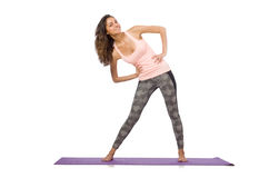 Young woman doing sport exercises isolated Royalty Free Stock Photography