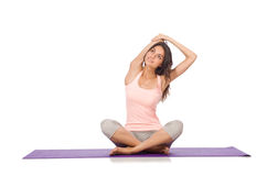 Young woman doing sport exercises isolated on Royalty Free Stock Photos