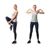 The young woman doing sports isolated on white Royalty Free Stock Images