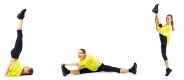 Young woman doing stretching exercises. Royalty Free Stock Images
