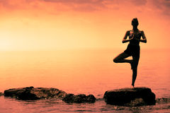 Young Woman doing the Tree Yoga Position During Sunset. Young Woman doing the Tree Yoga Position in Front of the Ocean During Sunset royalty free stock photography