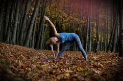 Young woman doing yoga asanas in autumn forest. Trikonasana. Young blond woman with braid doing yoga asanas in autumn forest. Name of asana is Trikonasana Royalty Free Stock Image