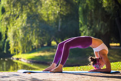 Young woman doing yoga in beautiful morning near lake Royalty Free Stock Photos