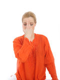 Young woman doing yoga breath practics Stock Photography