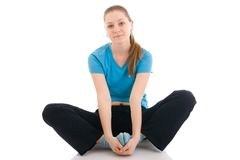 The young woman doing yoga exercise isolated Stock Photography