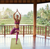 Young woman doing yoga exercise tree pose. Full length shot of young woman doing yoga exercise tree pose. Fitness woman standing on one leg with hands joined Royalty Free Stock Photo