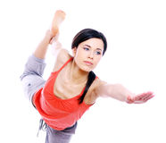 Young woman doing yoga exercises Stock Photo