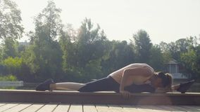 Young woman doing yoga exercises in the park stock video