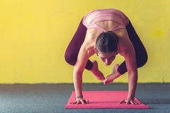 Young woman doing yoga handstand pose in class Royalty Free Stock Images
