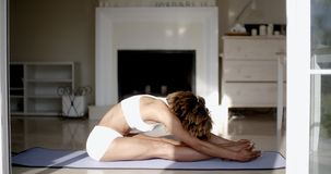 Young Woman Doing Yoga At Home stock video footage