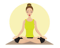 Young Woman Doing Yoga In Lotus Position Stock Photography